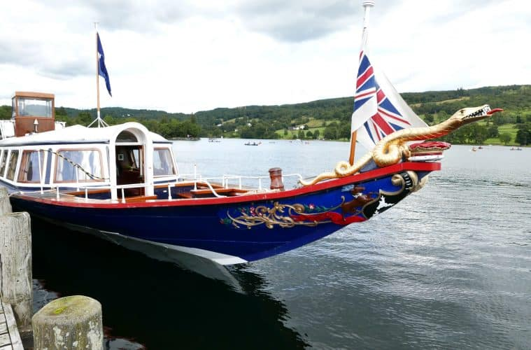 Sailing On The National Trust's Steam Yacht Gondola on Coniston Water, Cumbria