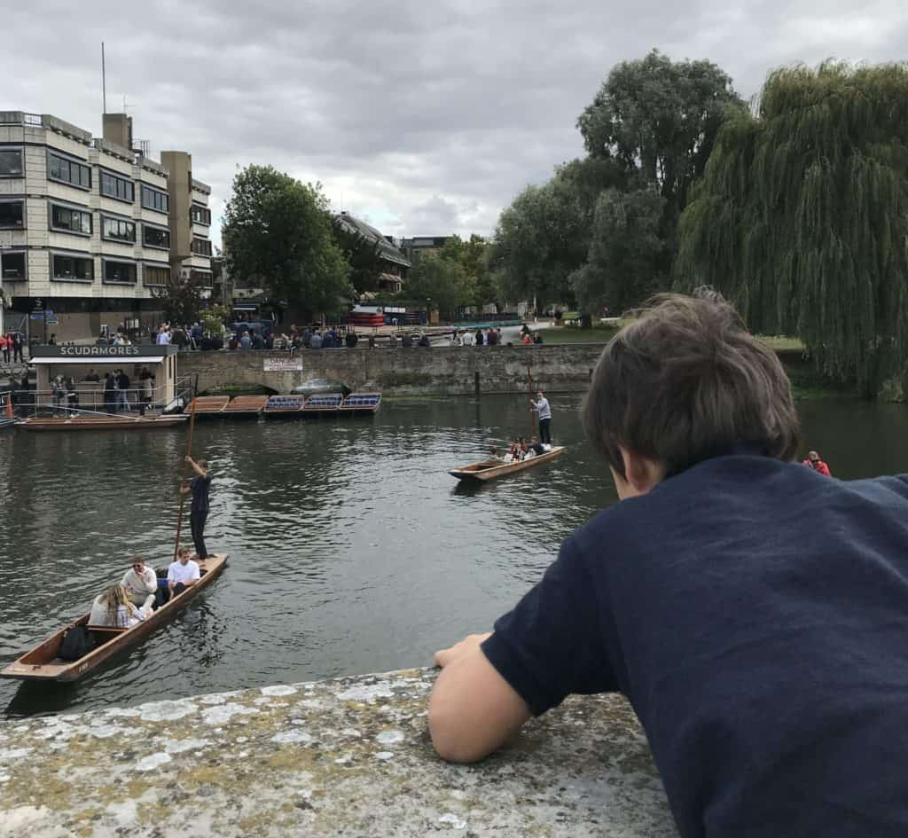 Watching punts in Cambridge